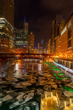 Chicago Riverwalk With Big Chunks Of Ice Floating In The River After Cold Days, Chicago IL 2019