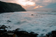 beautiful sunset on the coast of Basque Country, on the beach of barrika. Biscay