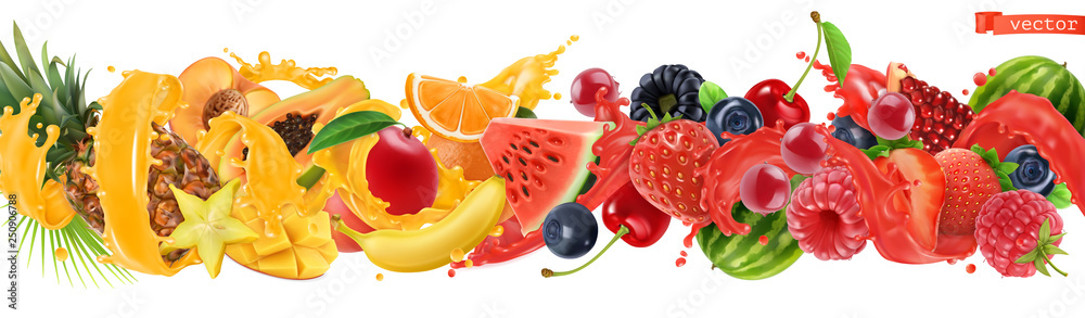 Fototapeta Sweet tropical fruits and mixed berries. Splash of juice. Watermelon, banana, pineapple, strawberry, orange, mango, blueberry, cherry, raspberry, papaya. 3d vector realistic set. High quality 50mb eps