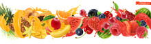 Sweet Tropical Fruits And Mixed Berries. Splash Of Juice. Watermelon, Banana, Pineapple, Strawberry, Orange, Mango, Blueberry, Cherry, Raspberry, Papaya. 3d Vector Realistic Set. High Quality 50mb Eps