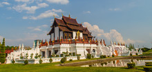 Beautiful Architectural Of Ho Kham Luang, The Royal Pavilion In Lanna Style Building At The Royal Flora International Horticulture Exposition (Ratchaphreuk) In Chiang Mai,Thailand.
