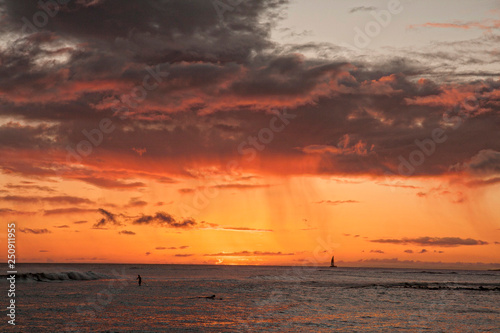 Sunset, ocean view, sky, glow, beach, ocean, Hawaii, travel, vacations, surfing, ocean waters, colorful, horizontal image