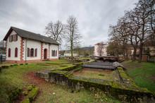 A White House At Roman Barbara Baths Ruins At Trier / Germany