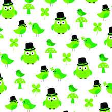 Saint Patricks Day Owls Birds And Shamrock Pattern