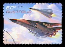 """AUSTRALIA - CIRCA 2011: A Stamp Printed In AUSTRALIA Shows The Aircraft F-111 """"Pig"""", Royal Australian Air Forces, Circa 2011"""