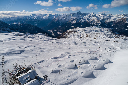 Fotografie, Obraz  Ursus Snowpark Aerial Drone Madonna di Campiglio Italy