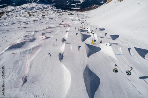 Ursus Snowpark Aerial Drone Madonna di Campiglio Italy Tapéta, Fotótapéta