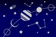 Blue Space with Stars and Planets in Ecliptic with Comet Meteor Saturn Moon Rocket