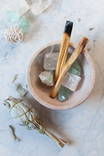 Crystals And Sage Still Life