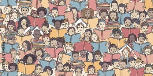 fototapeta na drzwi i meble Seamless banner of children reading colorful books,