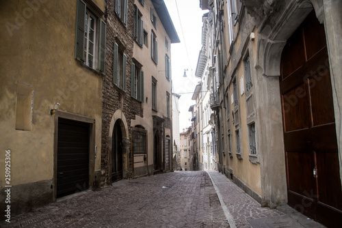 Printed kitchen splashbacks Narrow alley Street of the old city of Bergamo . Italy .