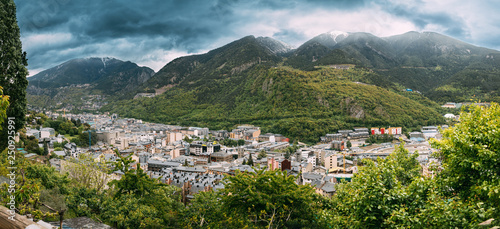 Andorra, Principality Of The Valleys Of Andorra. Top Panoramic View Of Cityscape In Summer Season. City In Pyrenees Mountains - 250925991