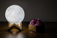 Moon Lamp And Baby Slipper On Wooden Table