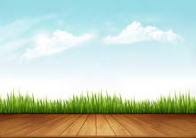 Nature Spring Background With Green Grass And A Wooden Deck. Vector.