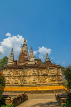 Wat Chet Yot (Wat Jed Yod) Or Wat Photharam Maha Vihara, The Public Buddhist Temple With Crowning The Flat Roof Of The Rectangular Windowless Building Are Seven Spires. Located In Chiang Mai, Thailand