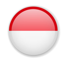Indonesia Flag Round Bright Icon Vector Illustration