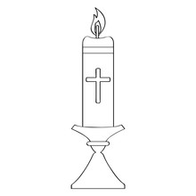 Outline Of A Paschal Candle. Holy Week. Vector Illustration Design