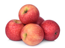 Pile Of Pink Lady Apple Isolated On White Background
