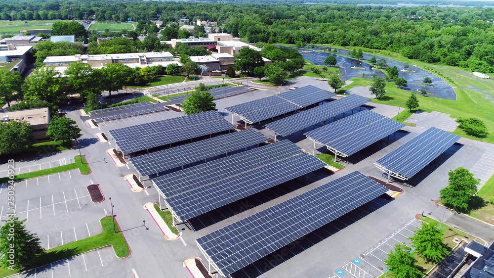 Fototapety, obrazy: aerial view of solar panels installed in parking