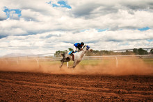 Teenager (16-17 ) Horse Racing On Dirt Track Dirt Track Horse Racing In Colorado