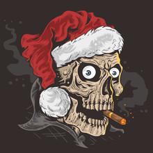 SKULL CHRISTMAS SANTA CLAUS HAT
