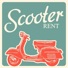 Scooter Vintage Illustration. ...