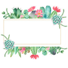 Watercolor Banner With Succulents, Cacti And Flowers. Great For Invitations, Weddings, Logo, Quotes, Place For Text.