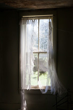 Ripped Curtain On Abandoned Homestead Window