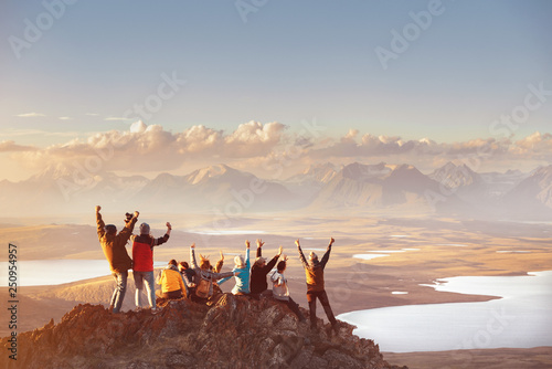 Fototapeta Large group of happy friends in mountainsv area obraz