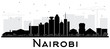 Nairobi Kenya City Skyline Silhouette with Black Buildings Isolated on White.