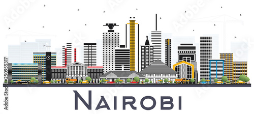 Nairobi Kenya City Skyline with Color Buildings Isolated on White Fotobehang