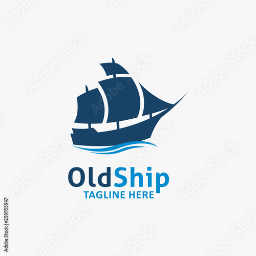 In de dag Schip Old ship logo design