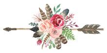 Rustic Watercolor Floral Arrow...