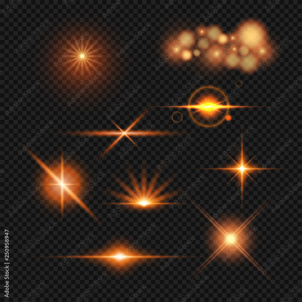 Fototapety, obrazy: Lighting effect set in different style on transparent background.