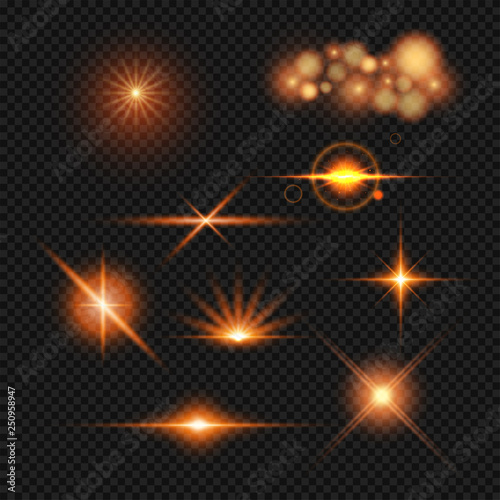 Obraz Lighting effect set in different style on transparent background. - fototapety do salonu