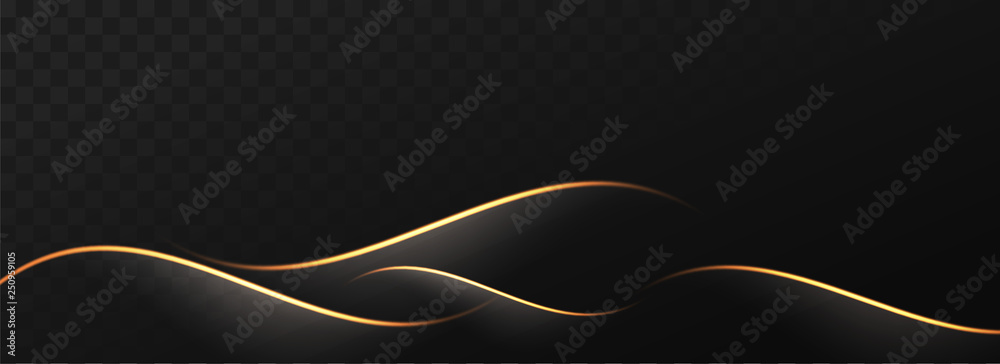 Fototapety, obrazy: Abstract golden waves on black png background.