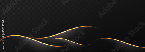 Fotografia Abstract golden waves on black png background.