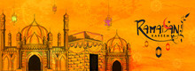 Ramadan Kareem Celebration Header Or Banner Design With Hand Drawn Mosque With Holy Kaaba On Orange Texture Background.