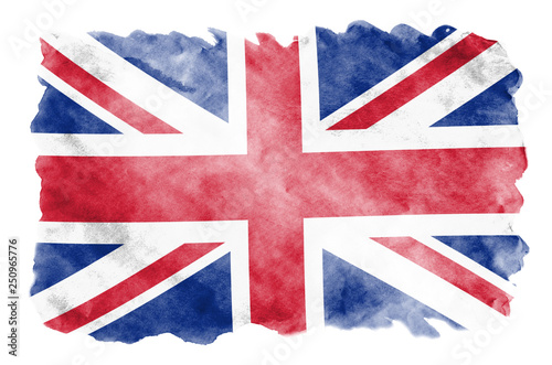 Fotografia, Obraz Great britain flag  is depicted in liquid watercolor style isolated on white bac