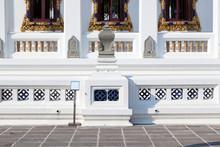 White Chedi At Wat Pathum Wanaram In Bangkok,Thailand