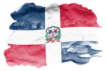 Dominican Republic Flag  Is Depicted In Liquid Watercolor Style Isolated On White Background