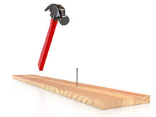 Hammer, Nail And Wooden Plank On White Background, Isolated. 3D Rendering