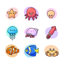 Cute Sea Life Symbol Vector