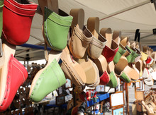 Wooden And Leather Clogs Hangi...