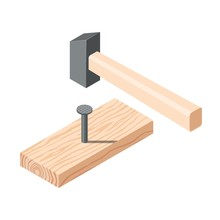 Realistic Isometric Rasped Wooden Timber Plank For Building Construction Or Floring With Hammer And Nails. Wooden Board On A White Background. Vector Illustration