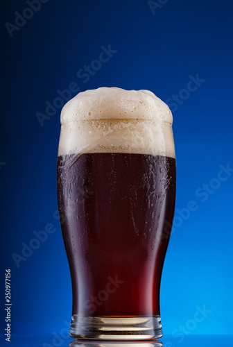 Glass of dark beer with foam on blue background Canvas Print