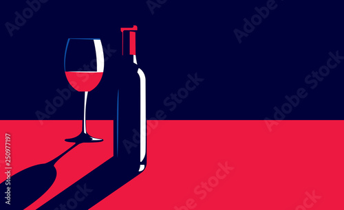Fotografija Vector illustration of a bottle and glass of red wine on the table in vintage el