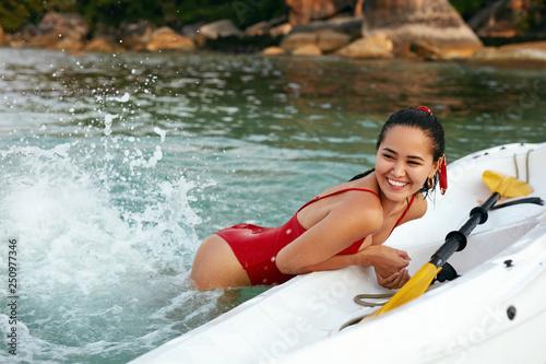 Fotografie, Obraz  Recreation. Beautiful Woman Having Fun In Sea In Summer.