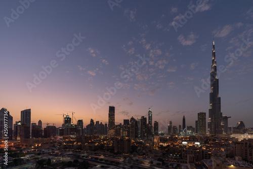 Poster Brooklyn Bridge Dubai cityscape at Magic Hour