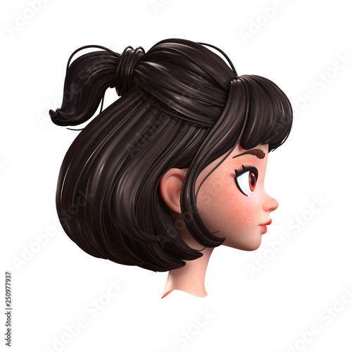 3d Cartoon Character Of A Brunette Girl With Big Brown Eyes